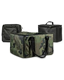 Green Camouflage File Tote with one Cooler and one Tablet Case