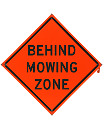 Behind Mowing Zone Safety Roadside Roll-Up Sign with Frames