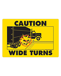 Caution Wide Turns Truck Decal with Graphic