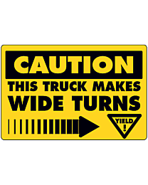 Caution Wide Turns Decal with Arrow