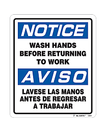 Notice Wash Your Hands Bilingual Decal
