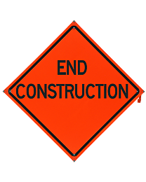 End Construction Safety Roadside Roll-Up Sign with Frames