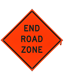 End Road Zone Safety Roadside Roll-Up Sign with Frames