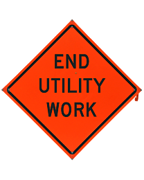 End Utility Work Safety Roadside Roll-Up Sign with Frames
