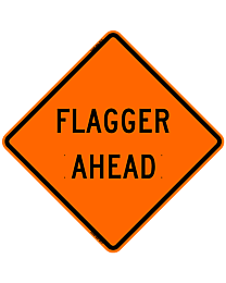 Flagger Ahead Safety Roadside Roll-Up Sign with Frames