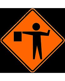 Flagger Symbol Safety Roadside Roll-Up Sign with Frames