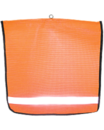 Reflective Flo-Orange Mesh Flags with Wire Loop and Edge Binding