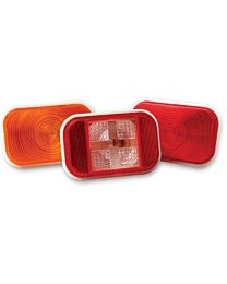 5.5 Inch x 3.5 Inch Red Sealed Stop/Tail/Turn Light with Clear Back Up Light - Grommet and Plug
