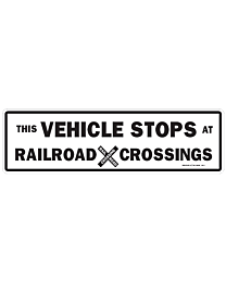 White Vehicle Stops at RR Decal