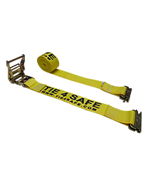 2 Inch x 12 Foot Yellow Ratchet Logistic Straps with E Fittings
